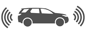 Gray vector icon of a self-driving car with wifi insignia