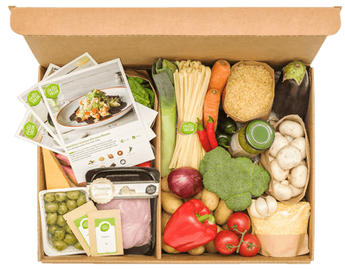 Top view of an open Hello Fresh subscription box full of fresh ingredients