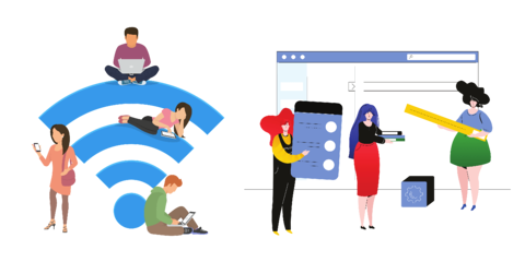 Vector graphic illustrations of people sitting on wifi bars and of ladies conducting digital CRM research and improvement