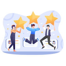 Vector graphic of three happy customers giving 5 star feedback for a website or digital service.