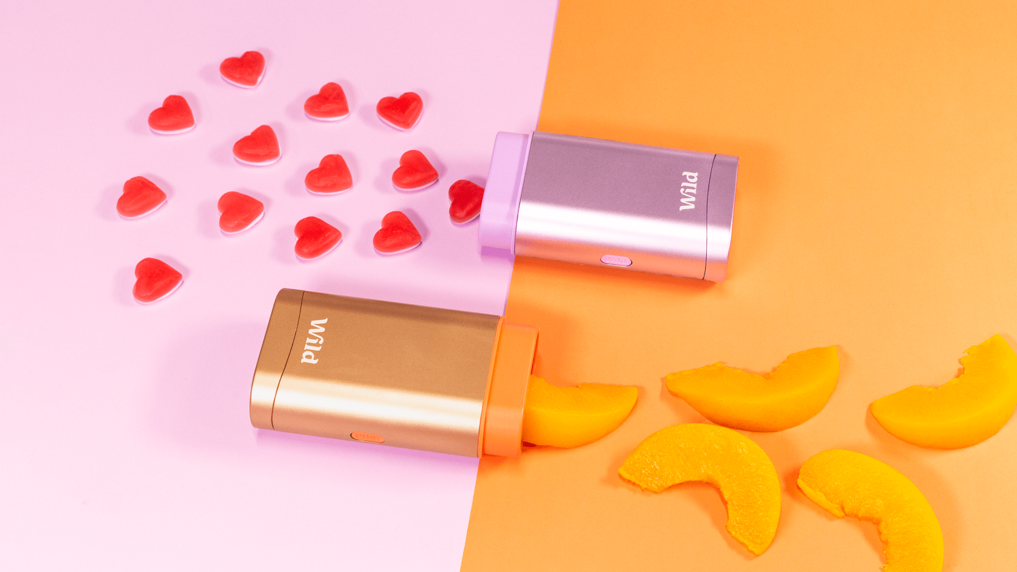 WeAreWild deodorants in peach and pink pictured agains contrasting backdrops.