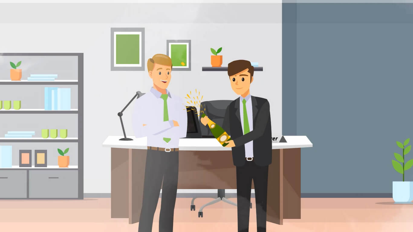 Vector graphic from an Acer promotional video depicting 2 men opening a bottle of champagne in celebration at an office.